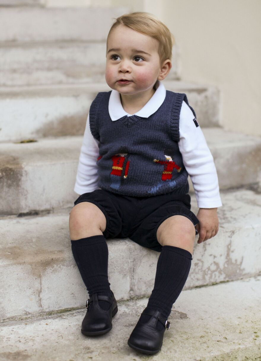 Prince George in one of three Christmas photos released by the British royal family.