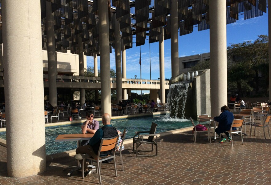Students take a study break during finals week on the main campus of The University of Texas at San Antonio Dec. 11, 2017.