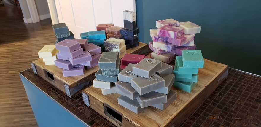 Colorful rectangles of handmade soap