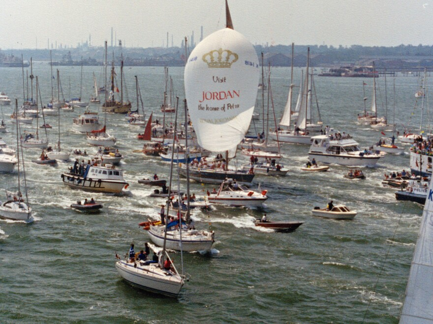 Thousands of boaters cheered Maiden's crew as they finished the round the world race.