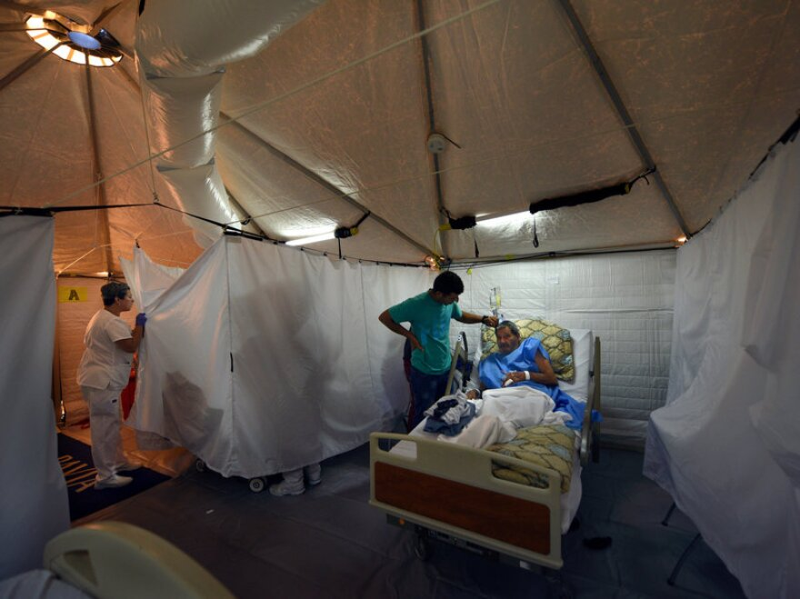 The hospital in Arecibo, Puerto Rico, evacuated its coronary floor last week and moved those patients into cooled tents erected by an American disaster medical team.