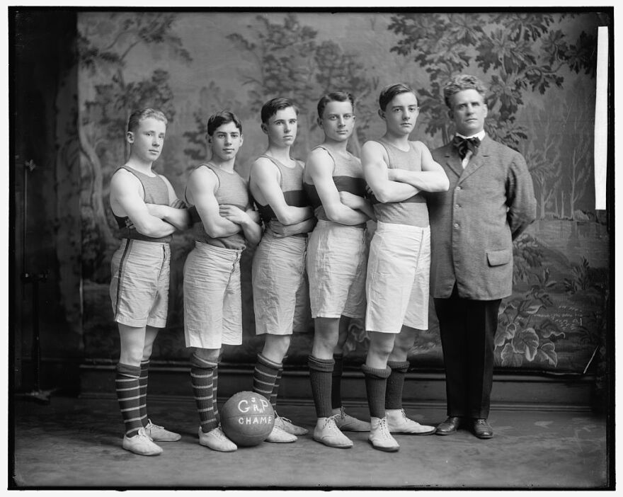 Pictured is an early basketball team from Georgetown University circa 1905