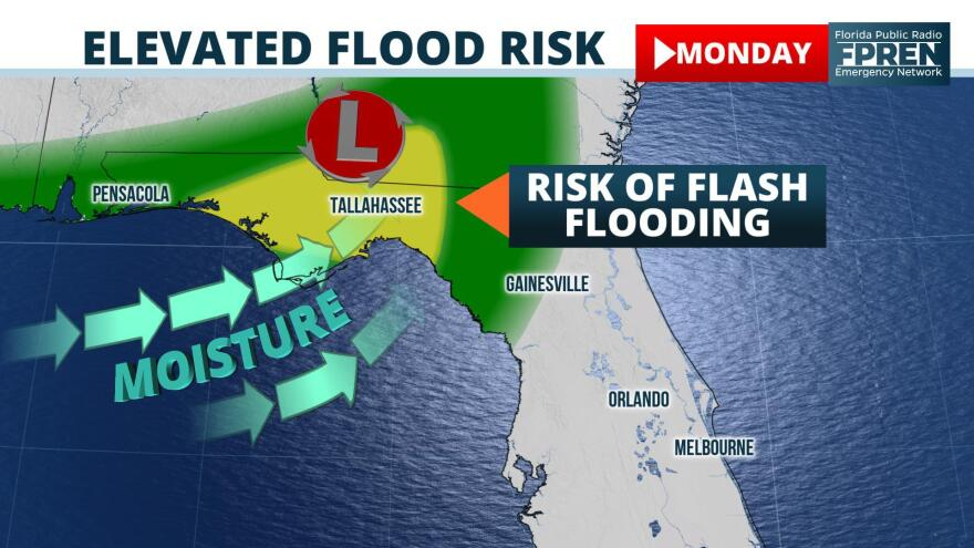 Repeating rounds of heavy rain could produce flooding across portions of the Florida Panhandle on Monday.