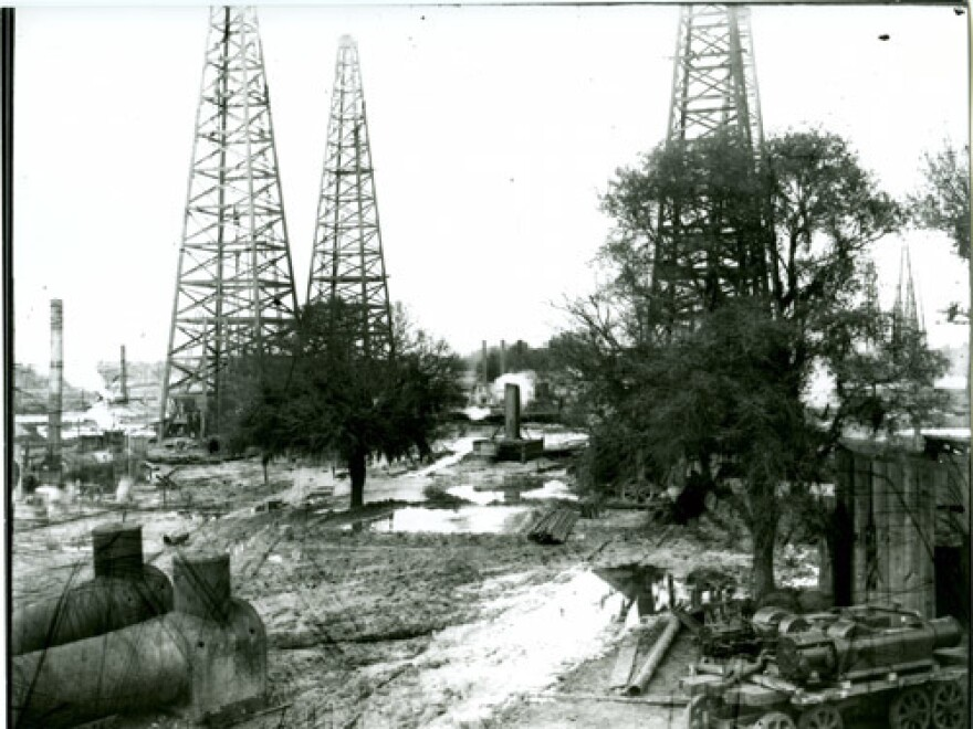 Oil derricks in a Texas field circa 1915-1925.