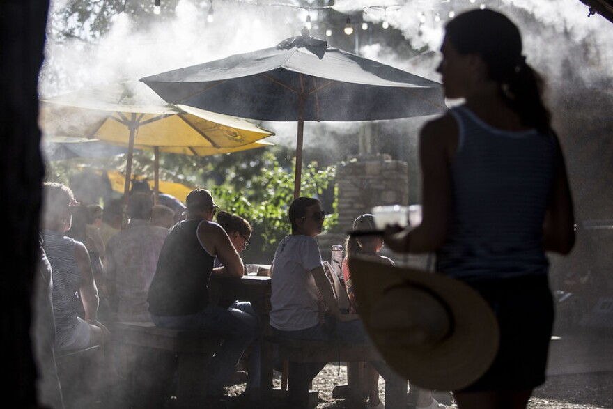 Water misters during summertime heat at Guero's Taco Bar on South Congress Ave.