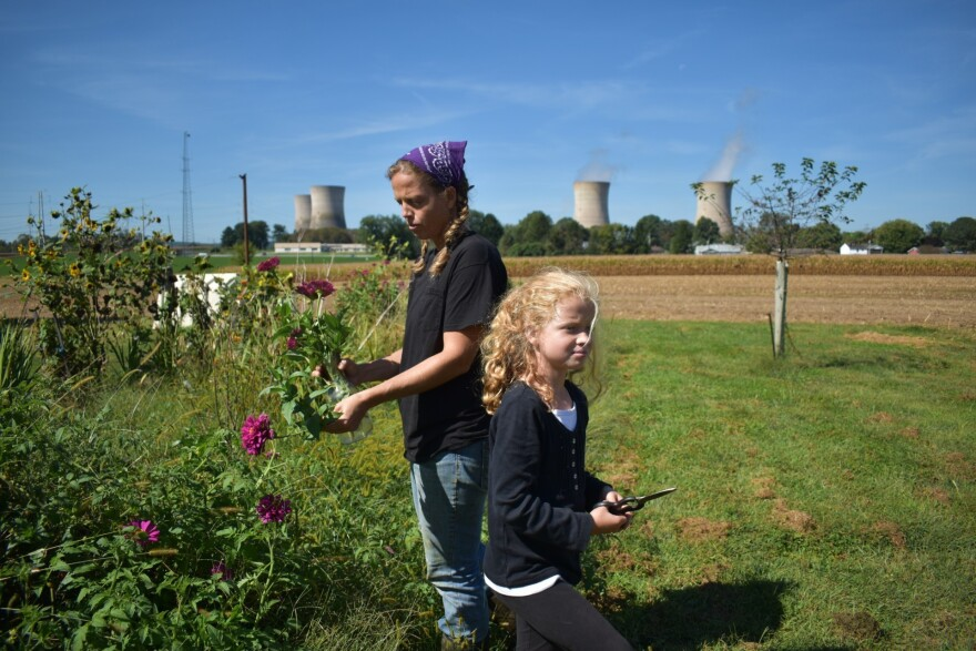 Kendra Nissley and her 8-year-old daughter Mikayla cut flowers in the yard on Friday. Nissley and her husband run a dairy farm near Three Mile Island. In the background, the cooling towers from reactor No. 1 emit steam. Plant officials have said the plant will cease to produce electricity after Friday.
