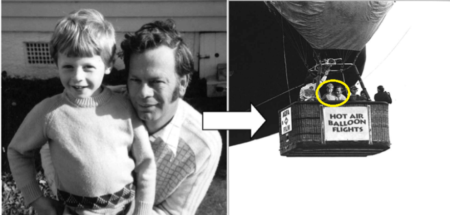 """A manipulated photo of a boy and his dad in a hot air balloon. They were never there<em> — </em>but when the boy tried to """"remember"""" the photo years later, he came to think he was."""