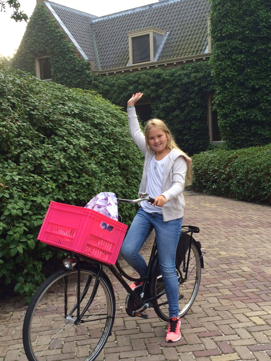 Princess Catharina Amalia of the Netherlands sets off for her first day of public school in The Hague.