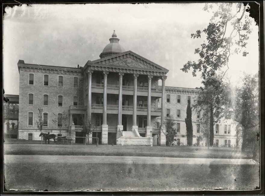 A historical photo of the main building of the Texas State Lunatic Asylum (Austin State Hospital)