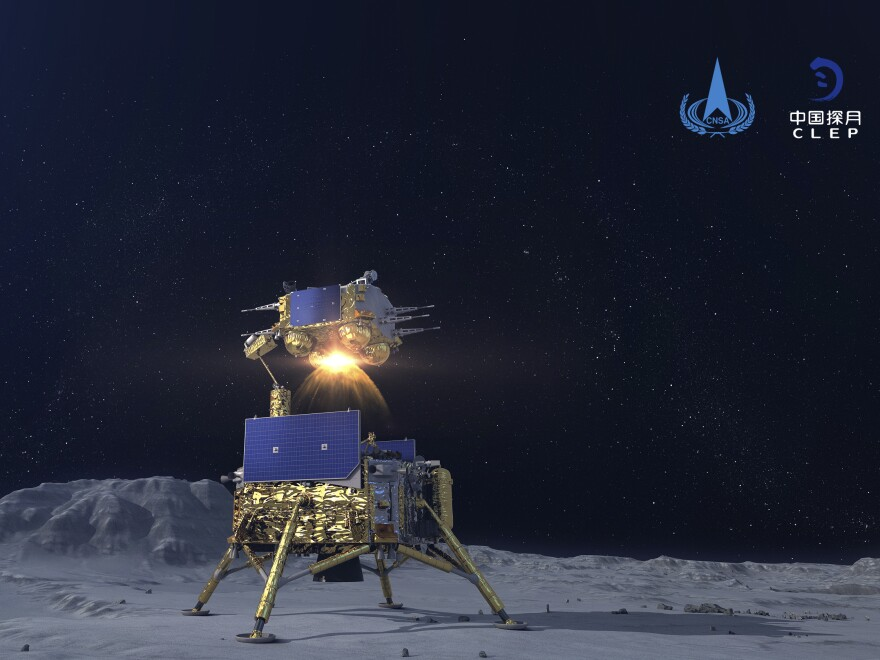 A simulated image of the  Chang'e-5 spacecraft blasting off from the moon. The Chinese National Space Administration placed China's first real flag on the lunar surface Thursday.