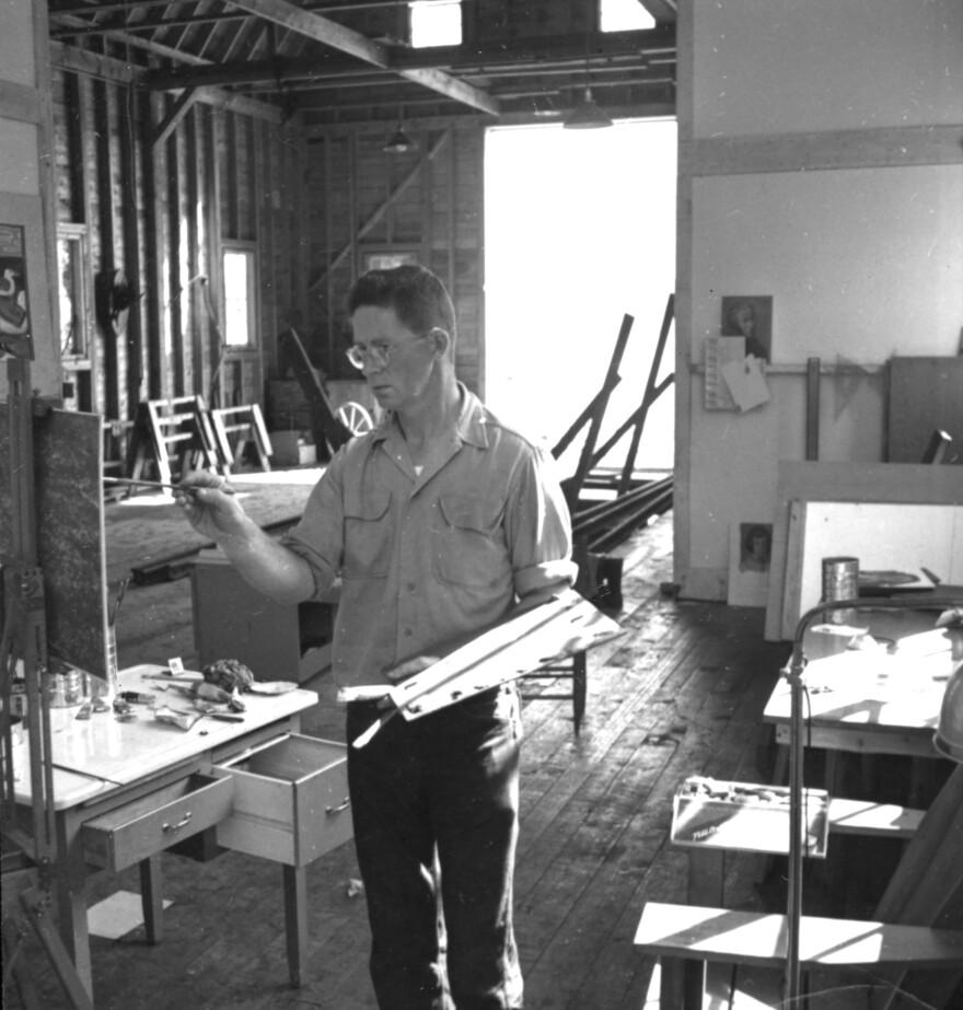 Robert McCloskey at work in his studio.