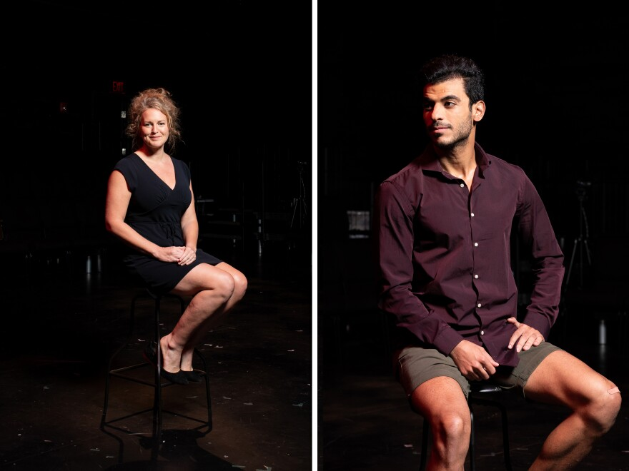 Laura Shatkus, associate director of <em>10,000 Balconies,</em> and Mohamad Alrefai, actor and cultural consultant for the play, sit at TheatreSquared.