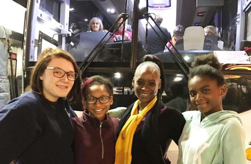 On the left in this January 21 photo is Sky Gregory with her friend Faith Simms, with Simms' mother Mecy Stanfield and sister Asia Simms.