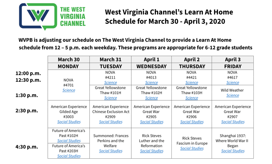 WV Channel Learn At Home Schedule For Week Of March 30