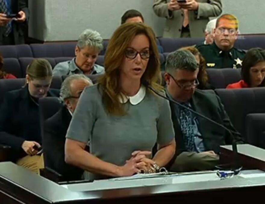 Sen. Lizbeth Benacquisto (R-Ft. Myers) speaking during a Senate hearing Monday.