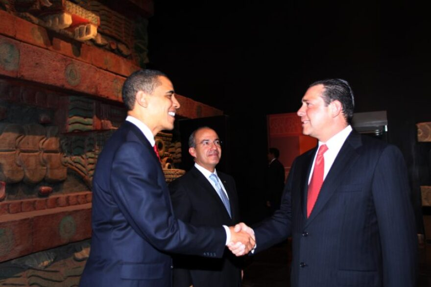 During his time as governor of Tamaulipas, Eugenio Hernández Flores greets then-U.s. President Barack Obama.
