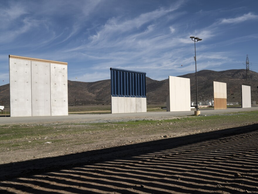 Border wall prototypes stand in San Diego near the U.S.-Mexico border. The federal government remains partially closed in a protracted standoff over President Trump's demand for money to build the wall.