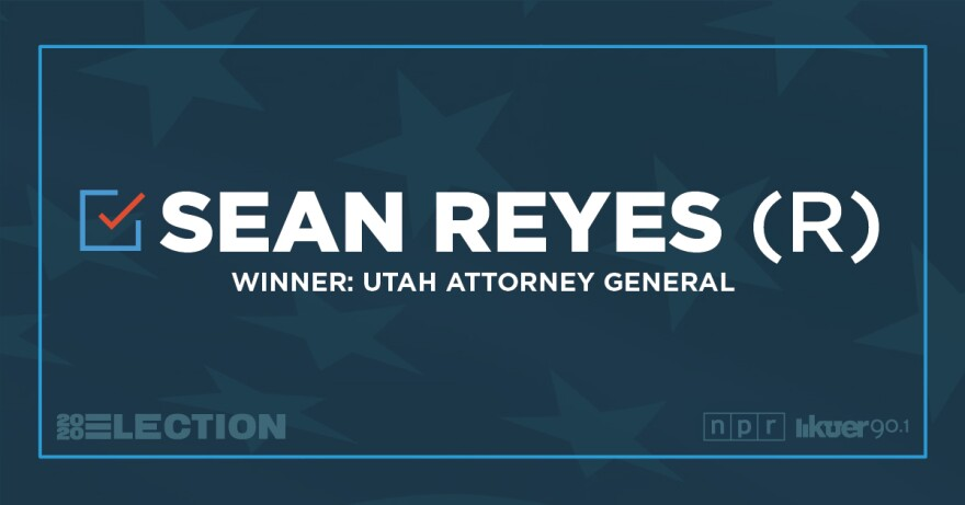 A graphic that announces Sean Reyes as the Winner of Utah Attorney General.