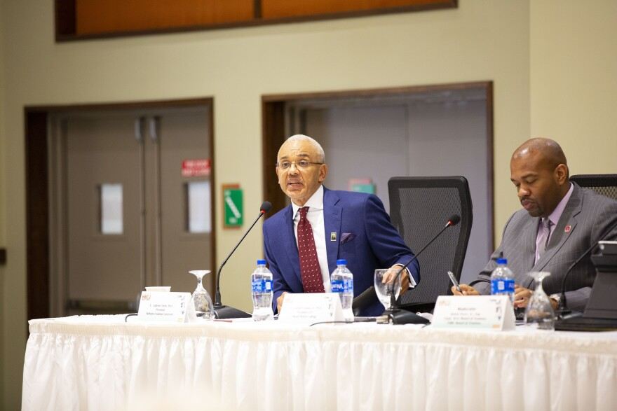Bethune-Cookman University President Brent Chrite speaking at Florida's HBCU Impact Summit on Monday, Aug. 5, 2019, in Tallahassee, FL.