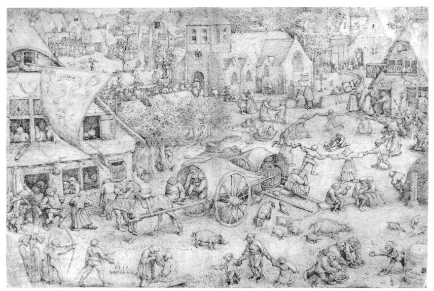 """As Europe's forests were felled to grow crops, pigs took up residence in towns, as in this 1559 sketch """"Fair at Hoboken"""" by Breugel the Elder. The pig's scavenging habits — which included the occasional human corpse — was one factor in a decline in the reputation of pigs and pork in the late Middle Ages."""