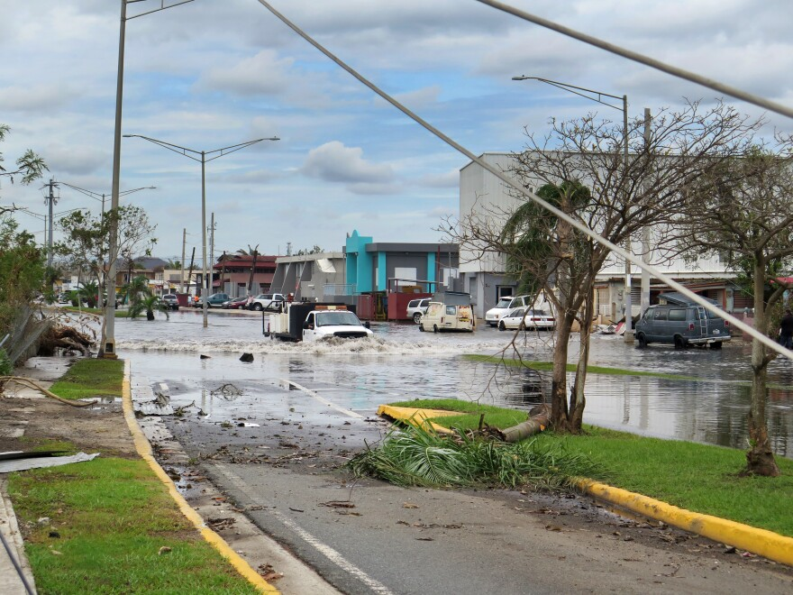 Nearly a week after the Category 4 Hurricane Maria hit Puerto Rico, some areas, including the small, low-lying community of Cataño, are still flooded.