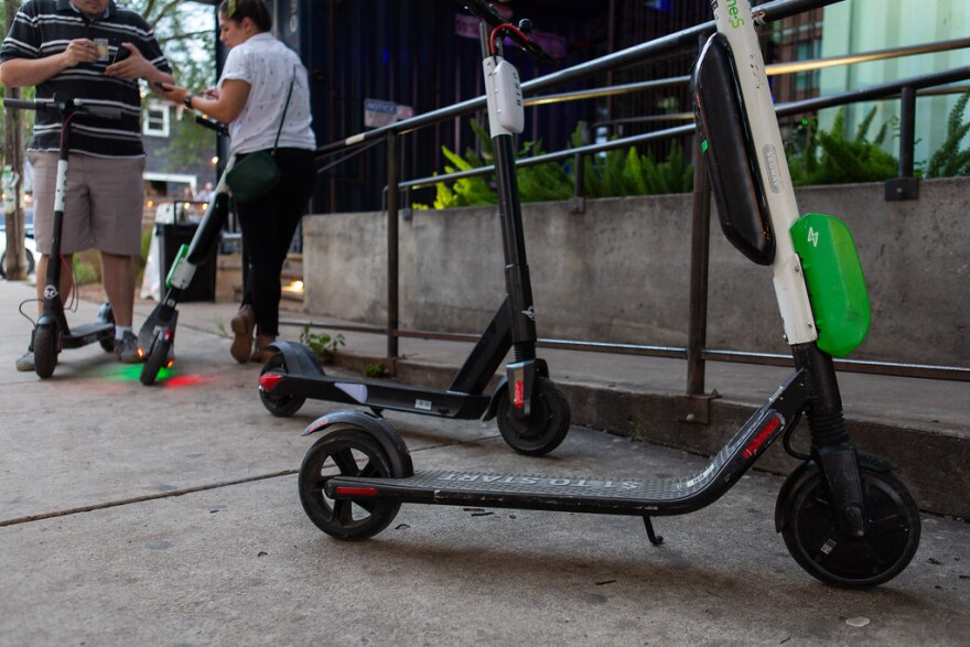 Dockless electric scooters on Rainey Street