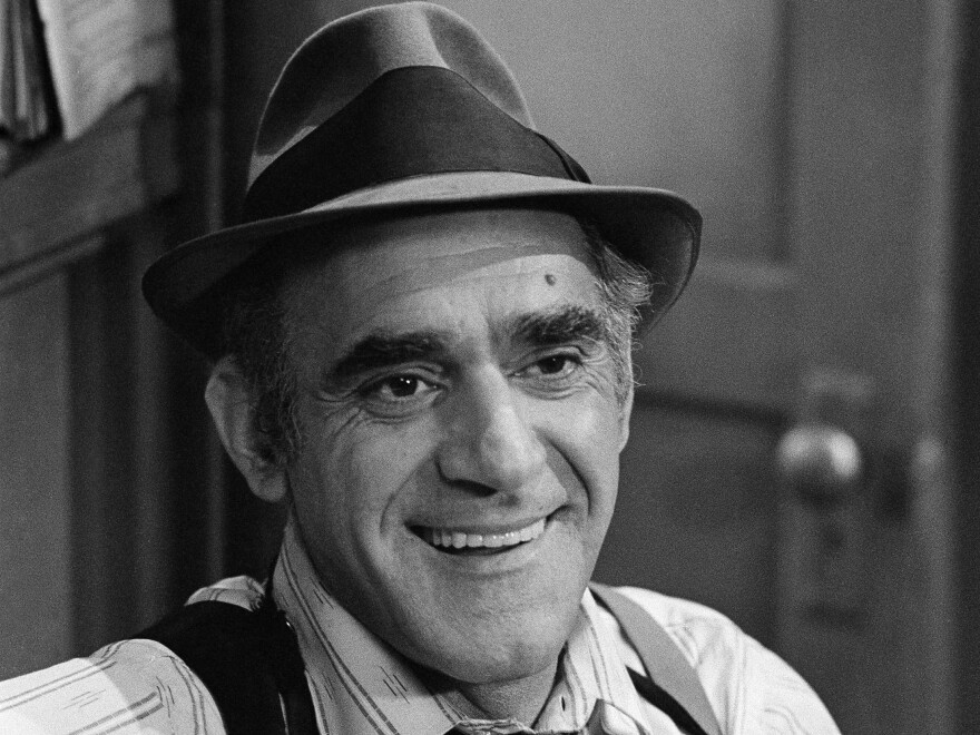 Actor Abe Vigoda, shown in character in 1977 as Detective Fish in <em>Barney Miller</em>.