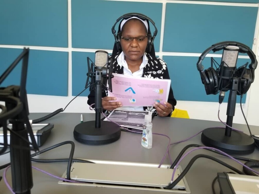 "Sister Astridah Banda produces a live radio show called ""COVID-19 Awareness Program"" in Zambia to share crucial information about the coronavirus in local languages."