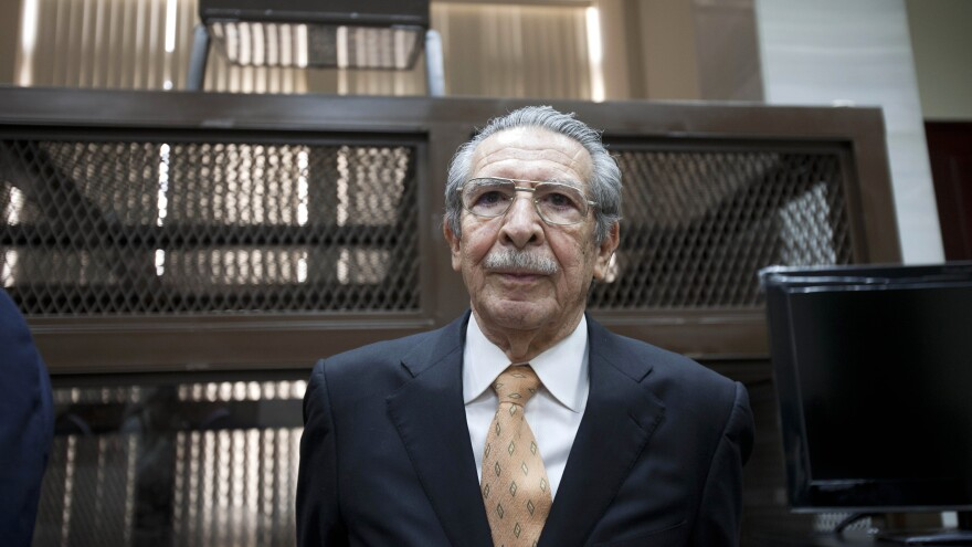 Guatemala's former dictator Efrain Rios Montt arrives in court Jan. 31 in Guatemala City to stand trial on genocide charges. On Tuesday, the prosecution will present its case in the trial.