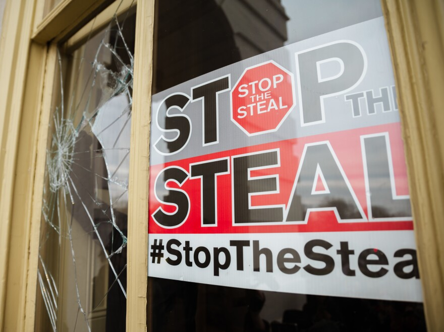 A Stop The Steal is posted inside the U.S. Capitol after a pro-Trump mob broke into the building on Jan. 6.