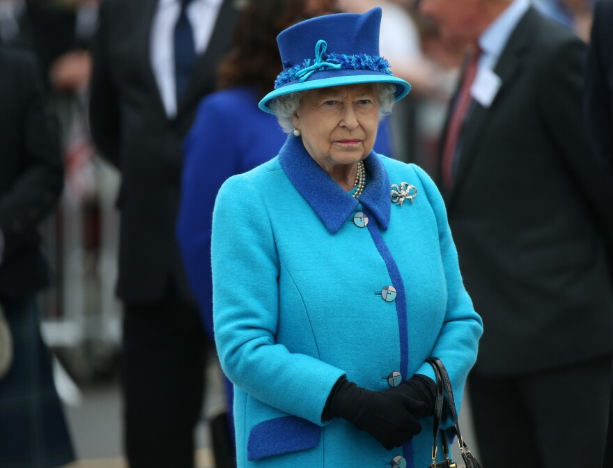 Britain's Queen Elizabeth II attends the opening ceremony for the Borders Railway route at Tweedbank station, Scotland, on Wednesday.