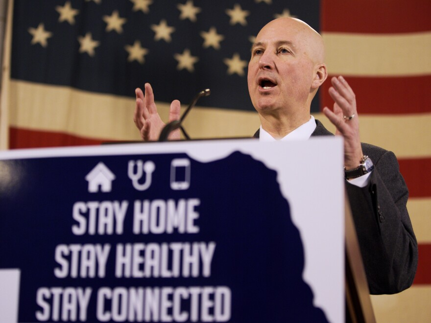 Nebraska Governor Pete Ricketts, speaks during a news conference in April. Nebraska is one of three state governments that have used coronavirus tests from the company Co-Diagnostics.