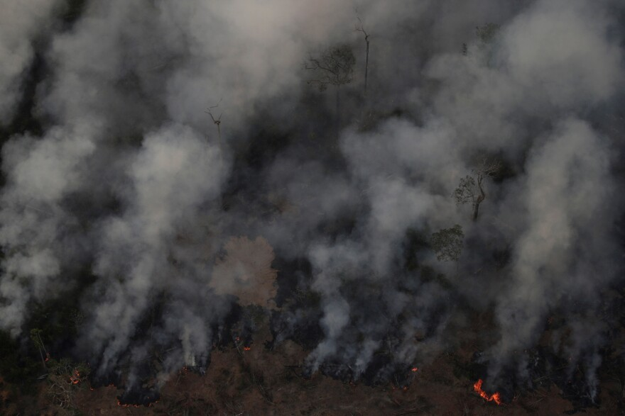Smoke billows during a fire in an area of the Amazon rainforest near Porto Velho, Rondonia State, Brazil, on Wednesday.