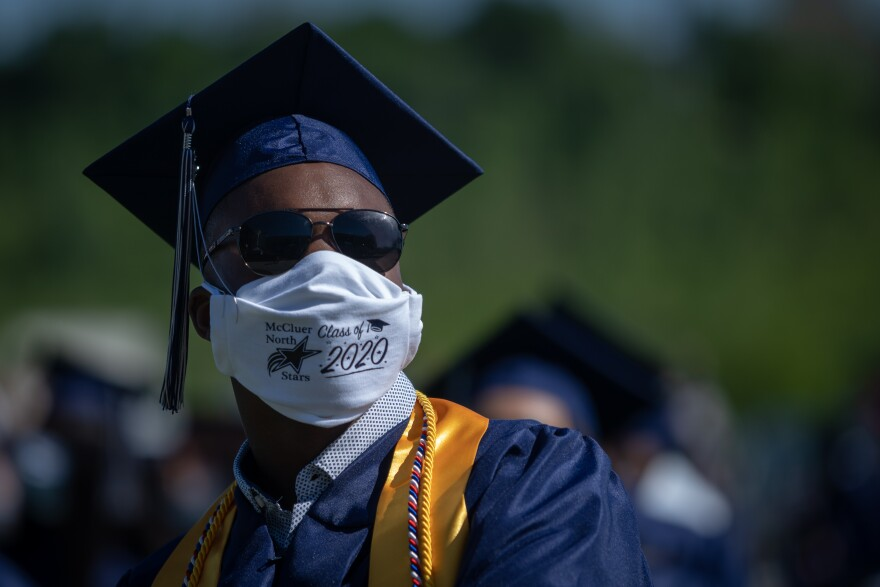 Josiah Gooden, a graduating senior from McCluer North High School, attends a drive-in commencement Sunday, May 31, 2020.