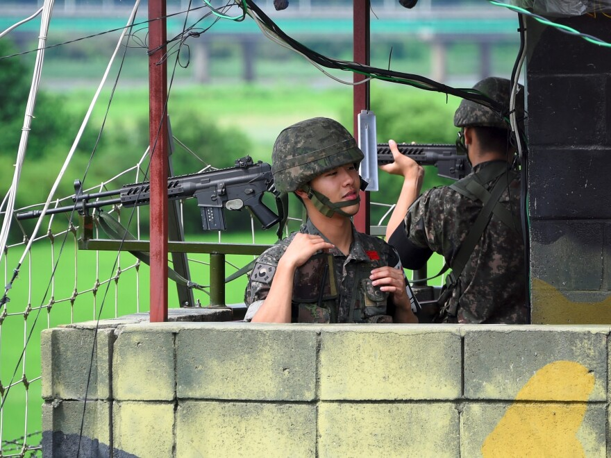 South Korean soldiers at a guard post near the Demilitarized Zone dividing the two Koreas in the border city of Paju in August of last year.