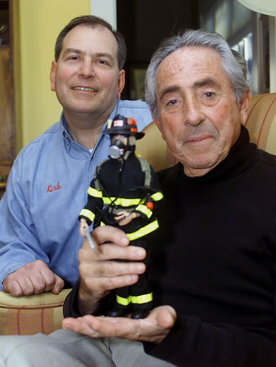 Levine (right) with Kirk Bozigian, his co-founder in collectibles company Real Heroes Inc.