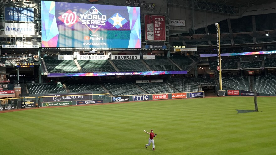 Washington Nationals starting pitcher Max Scherzer warms up during batting practice in Houston, where Game 1 of the World Series will be played Tuesday night beginning at 8:08 p.m. ET.