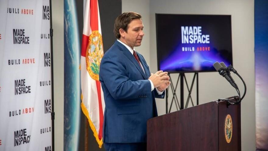 Gov. Ron DeSantis speaks at Made In Space in Jacksonville Friday.