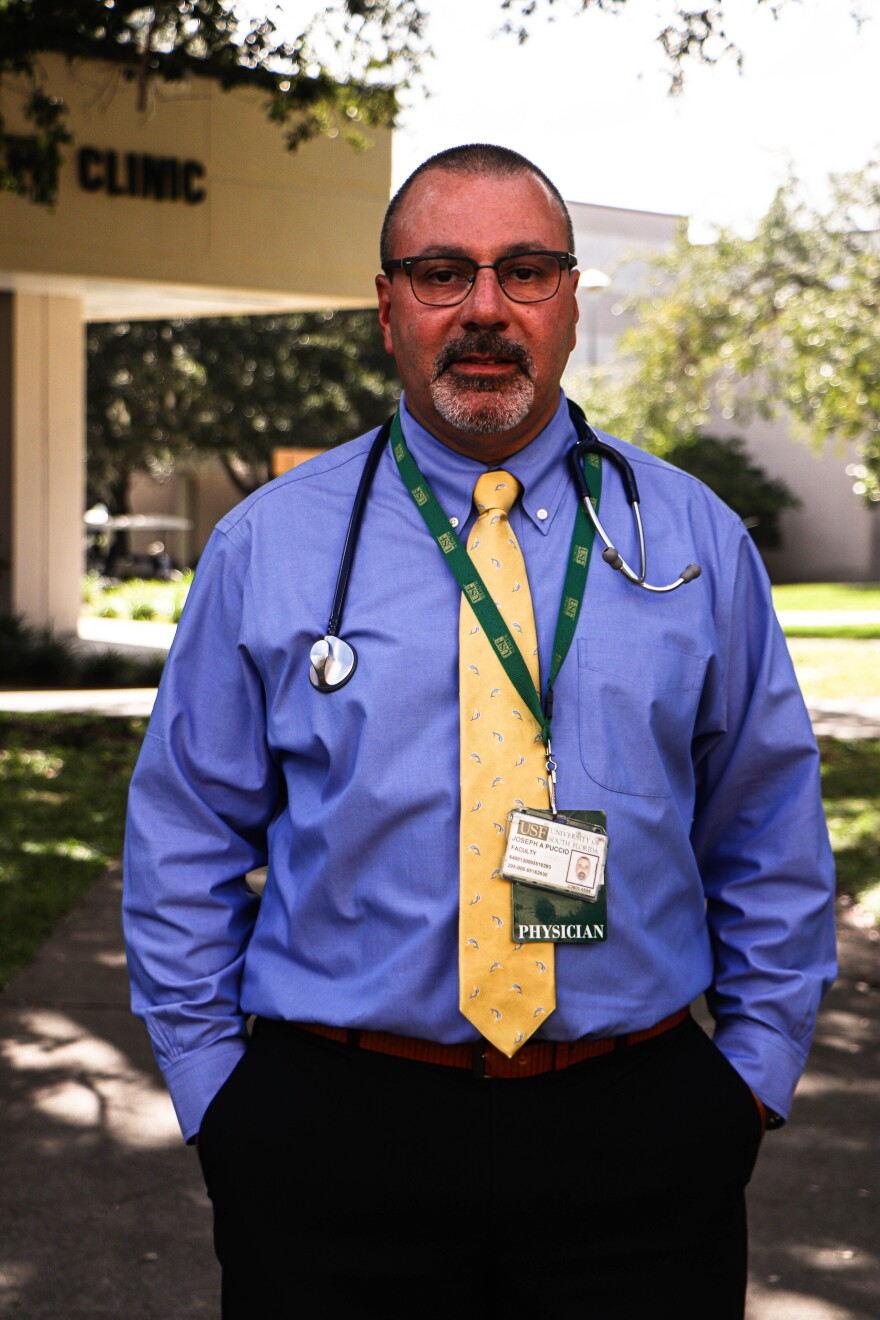 Joseph A. Puccio, Student Health Services executive medical director, said he wants to win the competition, but more than winning, he wants students immunized. Thomas Iacobucci/WUSF Public Media