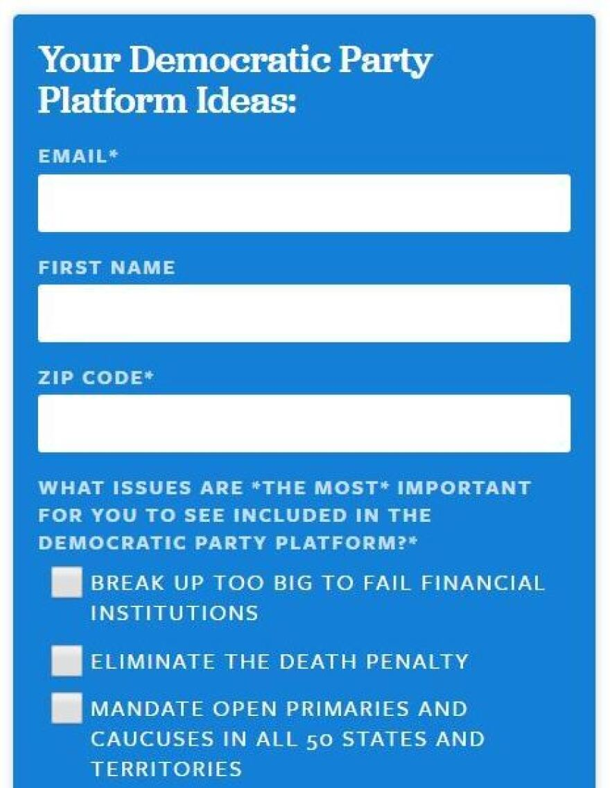 A screen grab from a form on Sanders' website seeking guidance from his supporters for the Democratic Party platform.