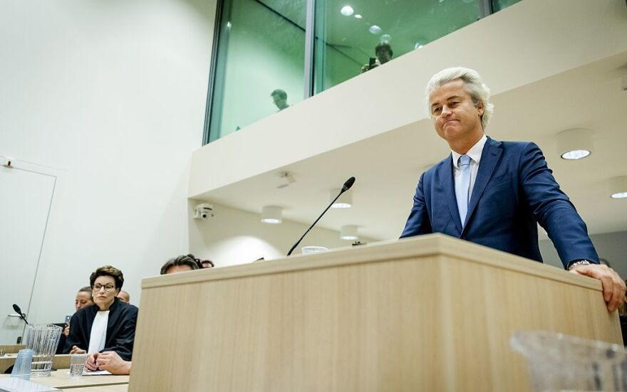 Dutch parliament member Geert Wilders speaks last month in court in Schiphol, Netherlands, during the last day of his hate speech trial.