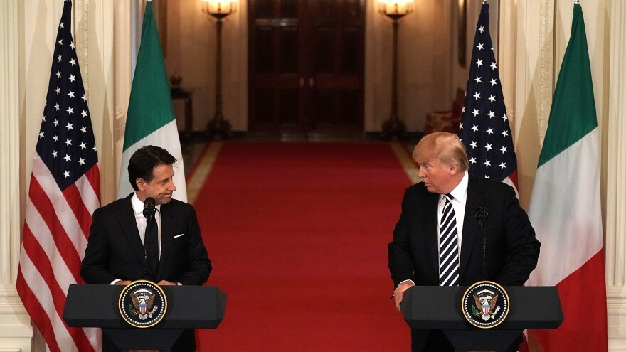 President Donald Trump and Italian Prime Minister Giuseppe Conte participate in a joint news conference at the East Room of the White House Monday.