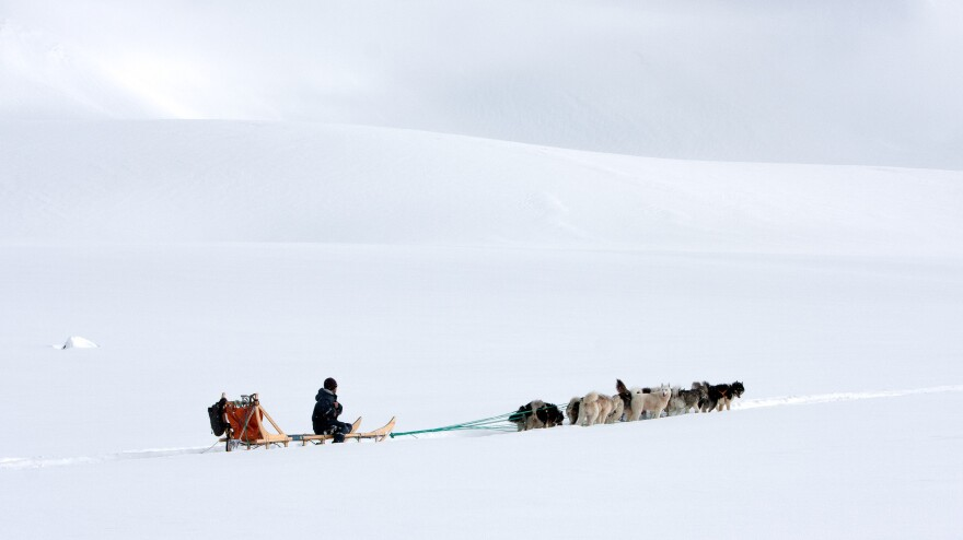 "A lot of people think the cold climate could be a reason for suicide. But in fact, ""suicide season"" is spring. Above, a team of dogs and sled driver approach a glacier outside Tiniteqilaaq."