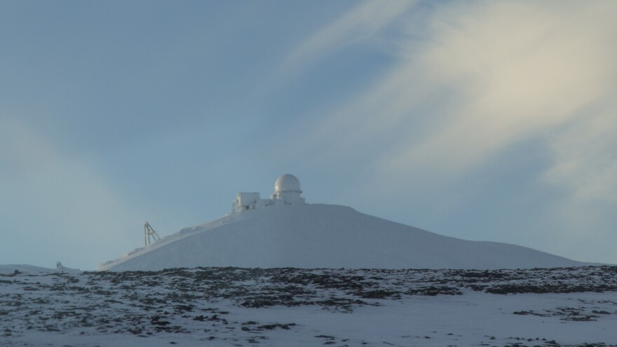 "Tin City ""top camp."" The long-range radar station sits on a bluff 2,275 feet above the Bering Strait, 48 miles from the Russian mainland."