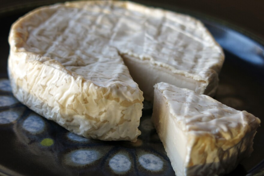 """Kite Hill's """"soft-ripened"""" cheese made from almonds develops a bitter rind like that on Brie cheese."""