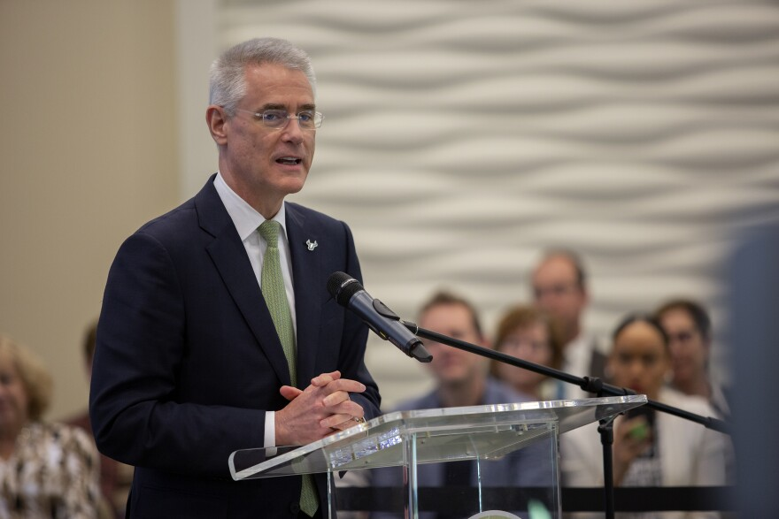 Steven Currall speaks in Tampa shortly after being voted the next USF System president.