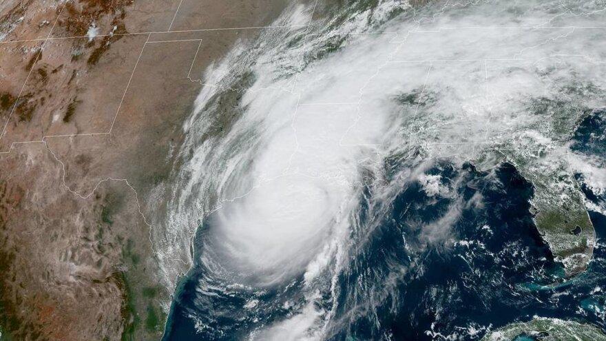 Satellite image of Hurricane Delta from NOAA