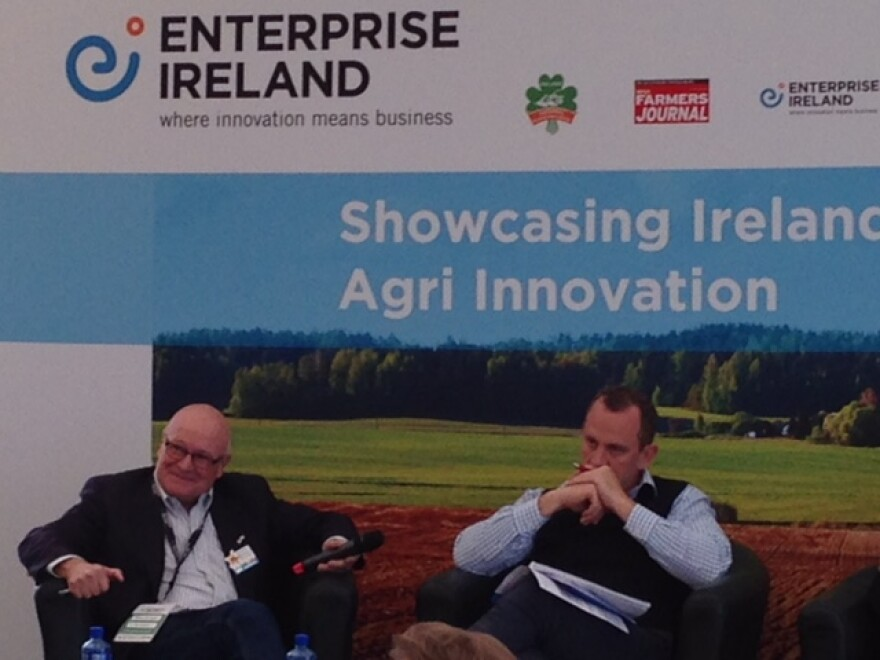 Brian Clevinger of Yield Lab (left) and James McCarthy, editor of the Irish Farm Journal (right), serve as judges at the Enterprise Ireland pitch competition at the Innovation Arena in Tullamore, Ireland. Sept. 20, 2016