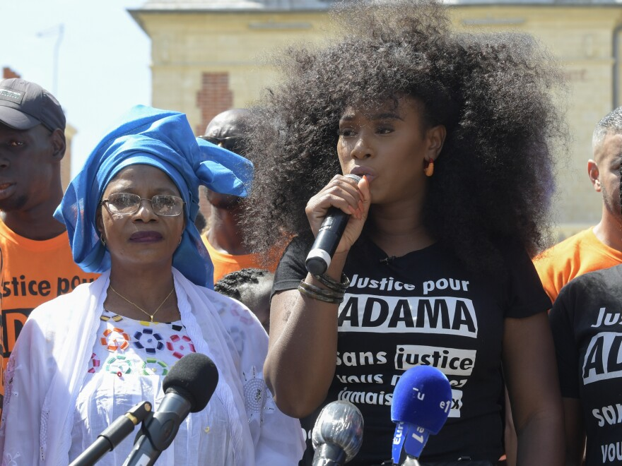 Assa Traoré speaks at a demonstration to commemorate the fourth anniversary of the death of her brother Adama Traoré, in Persan, France.