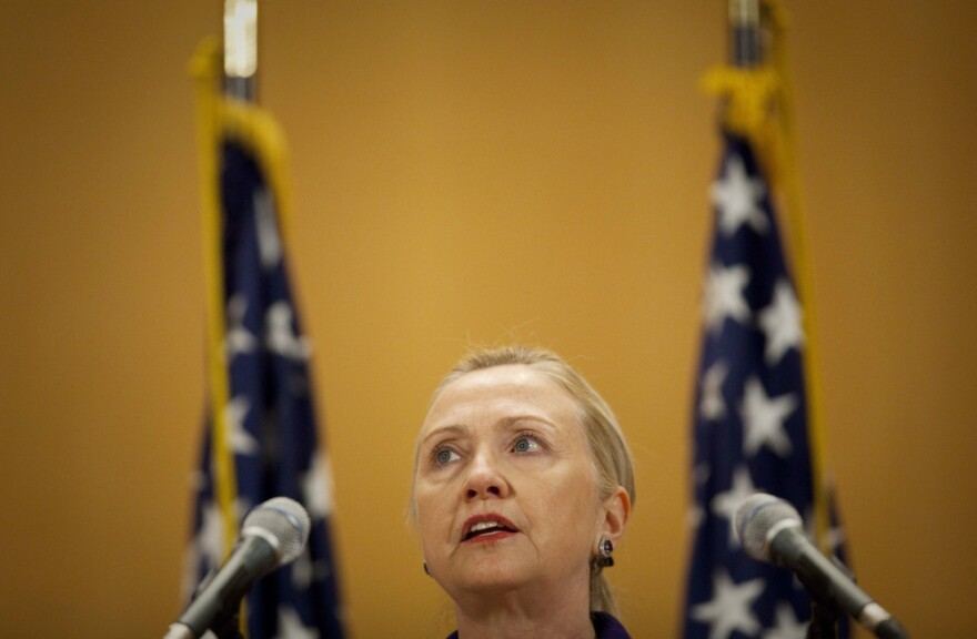 U.S. Secretary of State Hillary Rodham Clinton during her speech on human rights issues in Geneva, Switzerland.